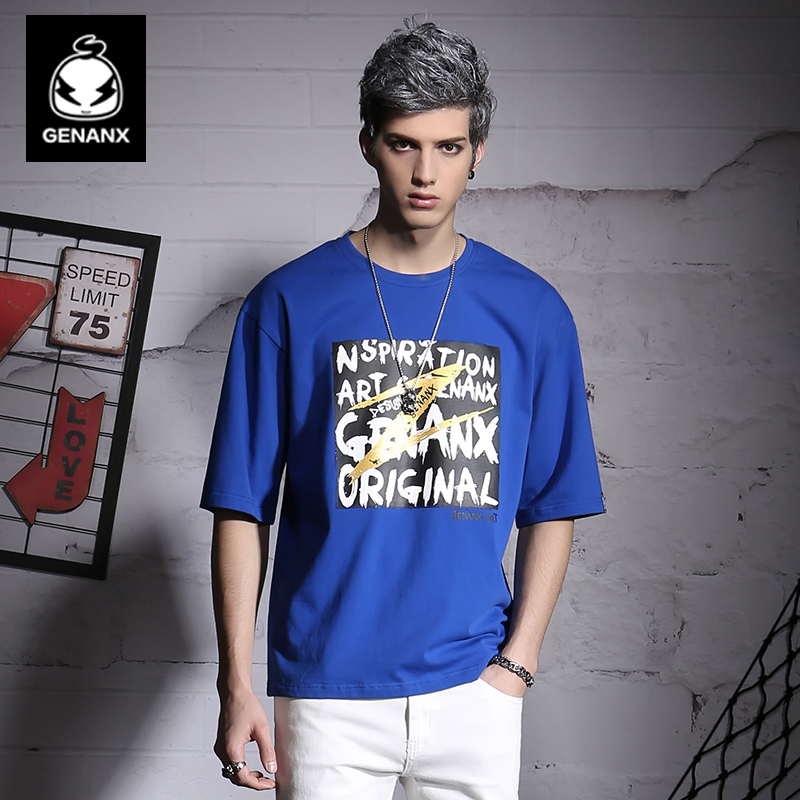 Genanx Brand Golden Lightning Elements Printed Designer Original Clothes Summer Half Sleeve Loose T-Shirts Men SIZE M-XXL(China (Mainland))