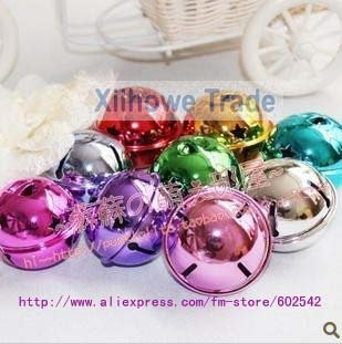 wholesale free shipping christmas  smoothing big colorful bell,  9 colors, diameter:4 cm(1.6 in)