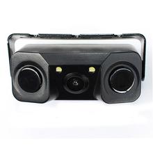 3 IN 1 Video Parking Sensor Car Reverse Backup Rear View Camera with 2 Radar Detector Sensors BiBi Alarm Indicator(China (Mainland))