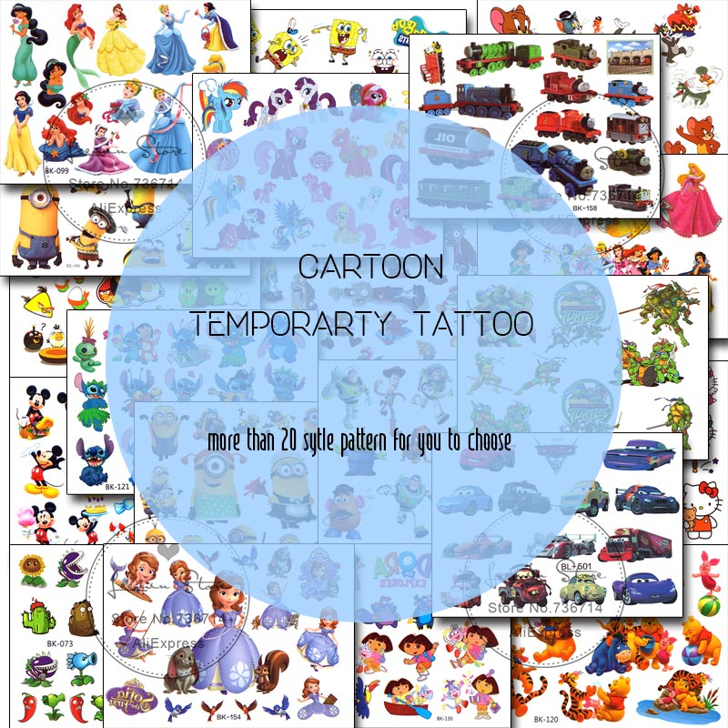 cartoon waterproof tattoo stickers princess car mouse plant etc.(China (Mainland))