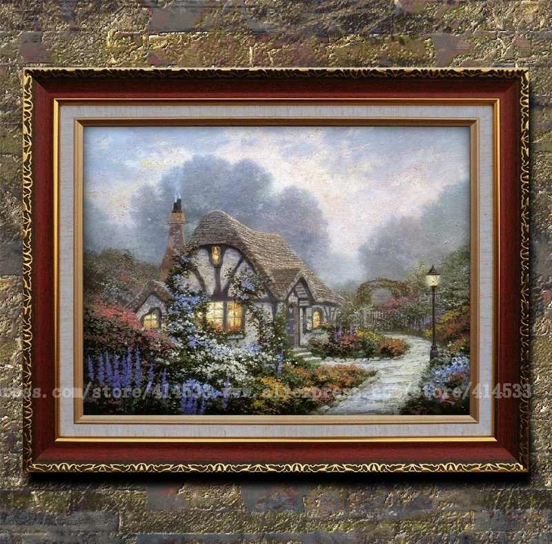 Prints of Thomas kinkade oil painting Chandler's Cottage Landscape painting modern wall art office Home decor Art Framed(China (Mainland))