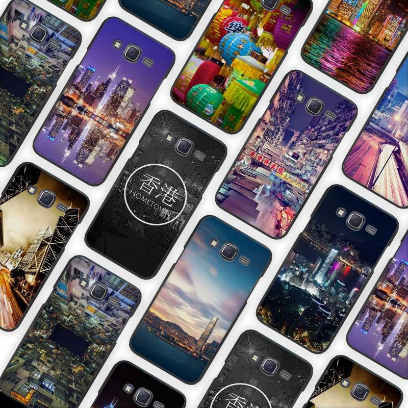 Hong Kong Sunset Skyscraper City Bay Black Case Cover Shell for Samsung Galaxy J1 J3 J2 J5 J7 Prime 2016 2017(China (Mainland))