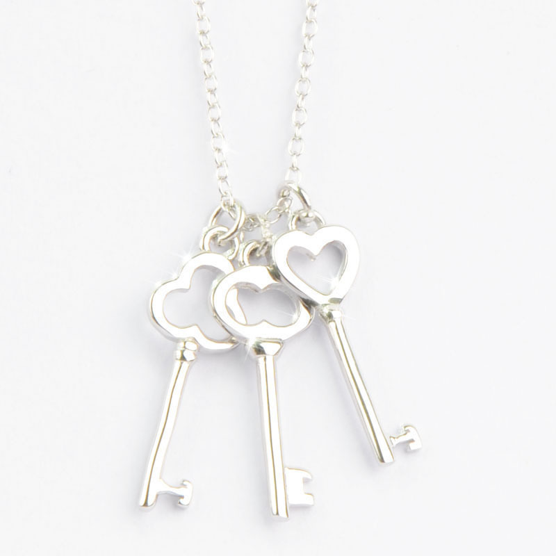 Cii factory direct sterling 925 silver heart -shaped key chain pendant Korean version gift couple necklace wholesale(China (Mainland))