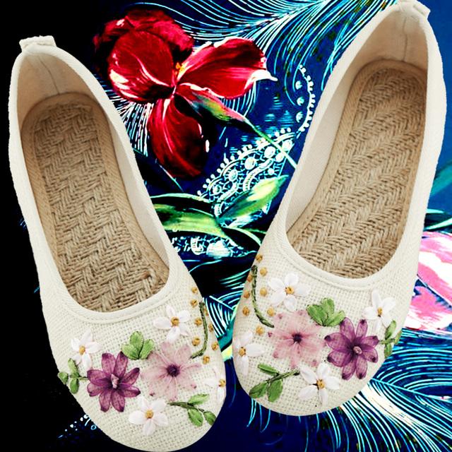 Ручной дамы этнические цветок вышивка оксфорд обувь для женщин zapatos оксфорд mujer ...