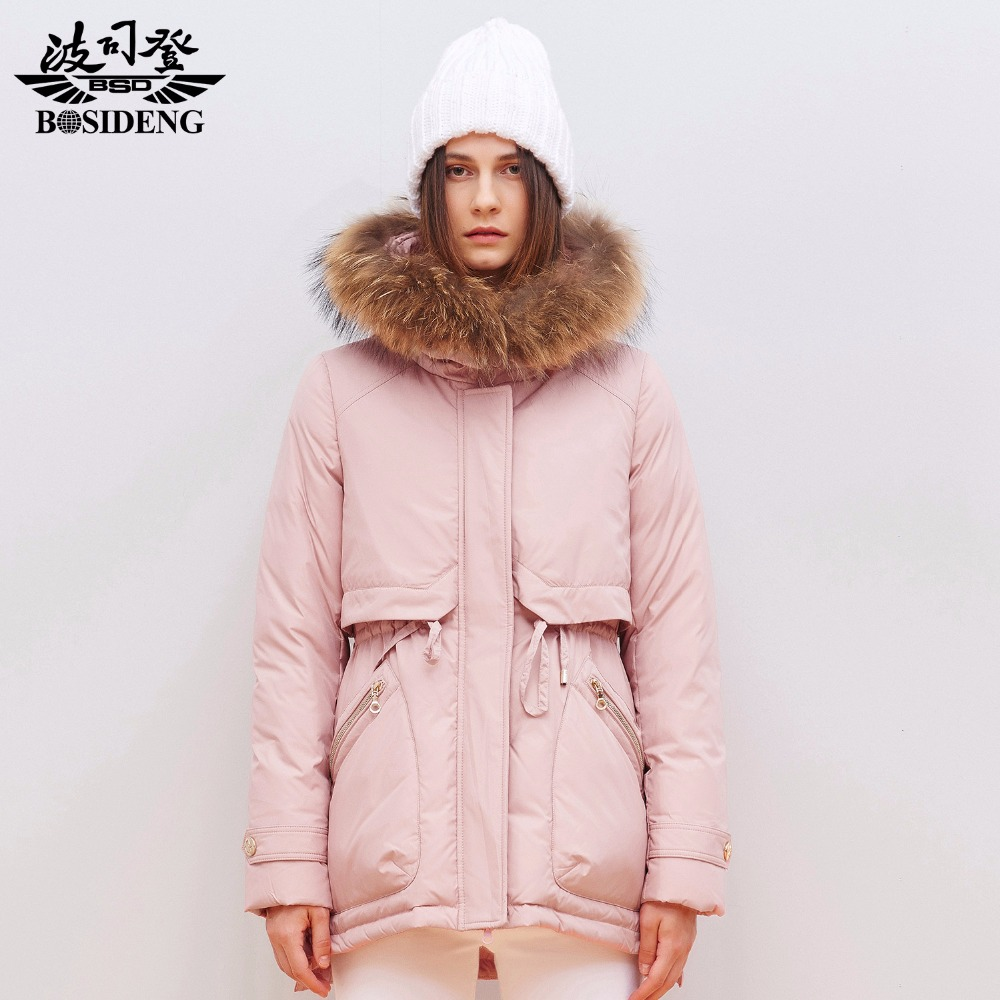 BOSIDENG capuchin New winter duck down jacket female hooded women's clothing fur collar Korean style jacket coat B1501110(China (Mainland))