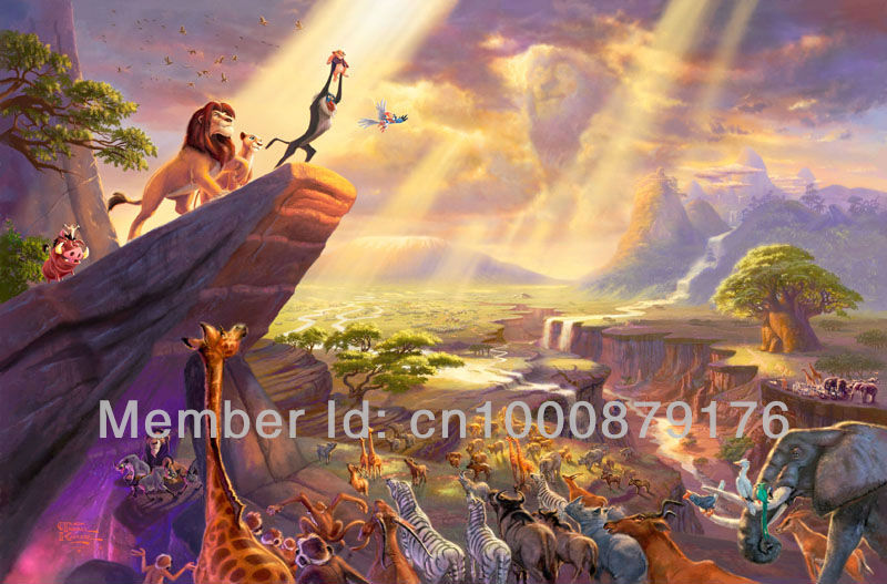 Thomas kinkade prints famous oil painting art print on canvas reproduction landscape painting home decor wall art The Lion King(China (Mainland))