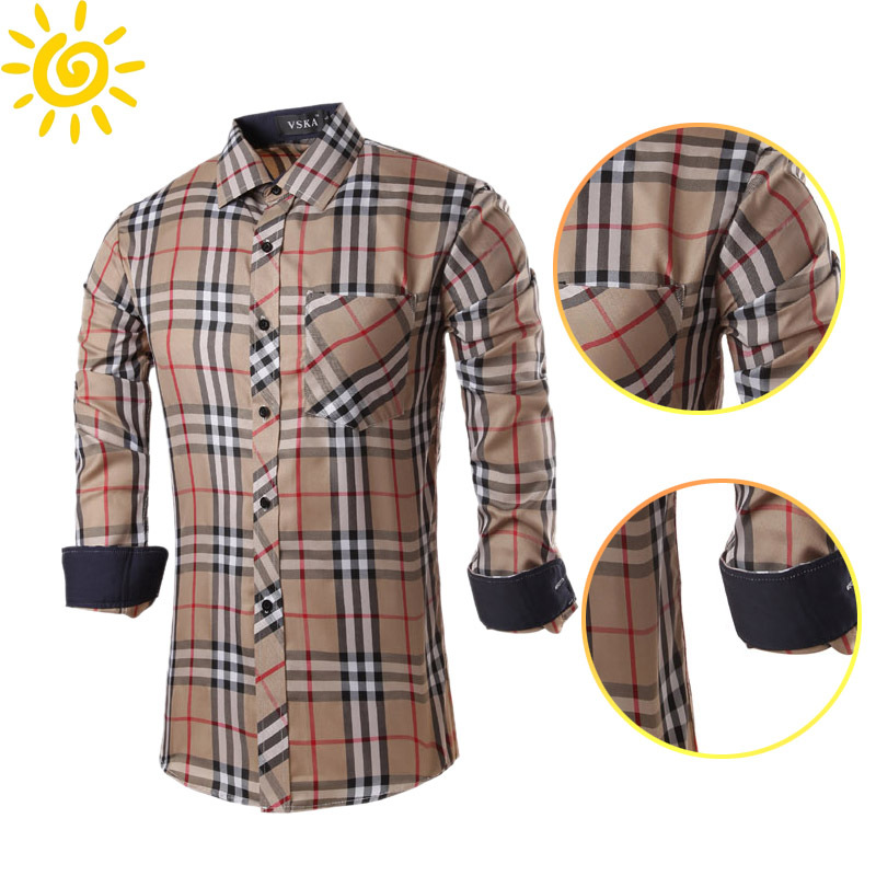 Famous Luxury Brand Men's british style Shirt Plaid ...