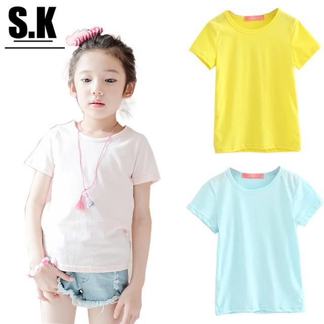Sk, 2016 летом хлопковой девочки и мальчики твердых футболки, Высокое качество дети ...