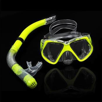 New Fluorescence Yellow Scuba Diving Equipment Dive Mask + Dry Snorkel Set Scuba Snorkeling Gear Kit TK0868