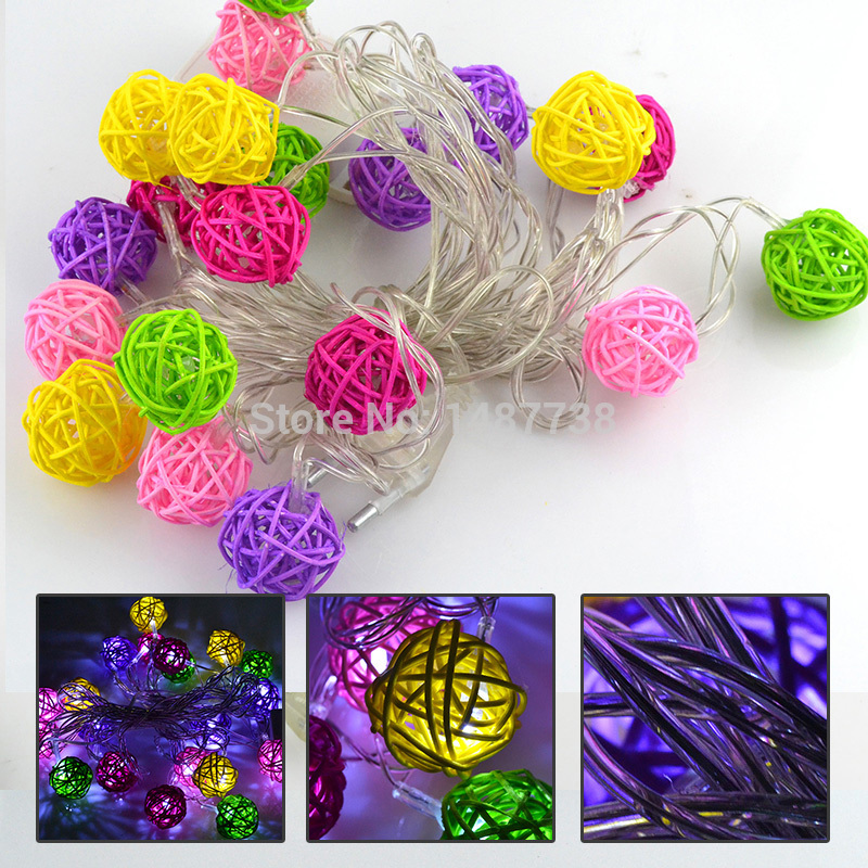 5M 20 leds 110V~ 220V Multicolor Sepak Takraw Rattan Ball Fairy String Christmas Lights for Holiday Party Home Decoration(China (Mainland))