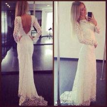 Buy Vestido De Noiva Lace Wedding Dresses 2016 High Neck Long Sleeve Backless Sweep Train Applique 2017 Sheath Wedding Gowns Dress for $170.05 in AliExpress store
