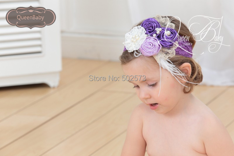 10pcs/lot  Purple&amp;Lavender Triple Satin Rosette Matching Feather  Lace  Sparkling Pearl  Headband Baby Headband<br><br>Aliexpress
