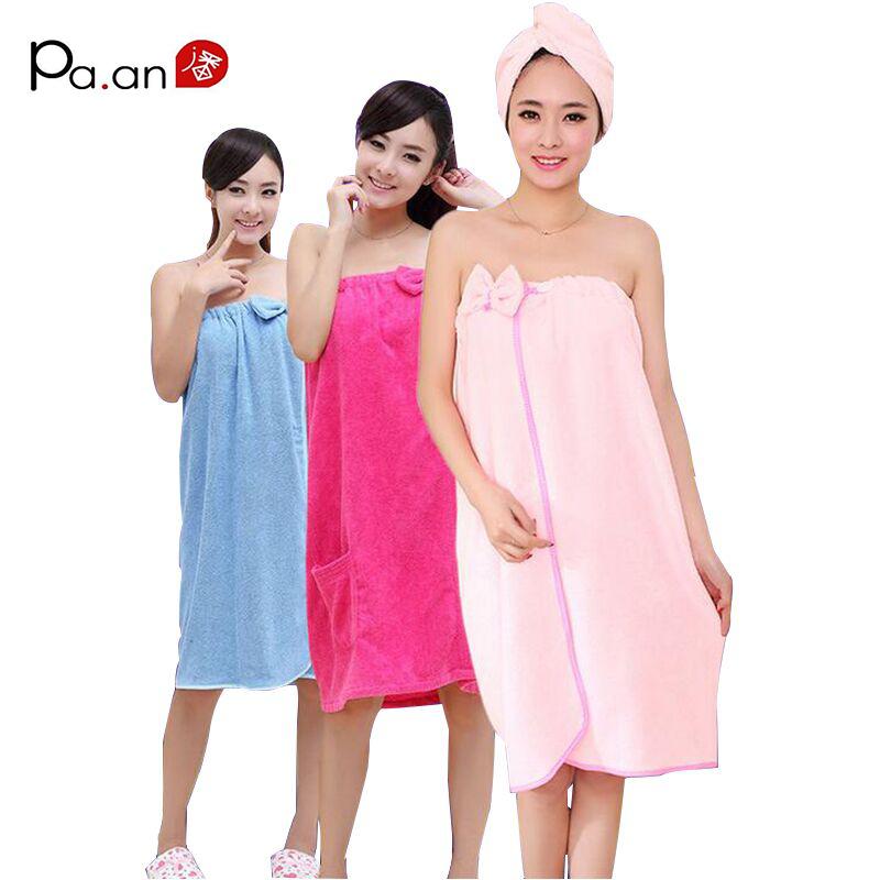 Fashion women bath towel bowknot pocket wearable towels for Bathroom wear
