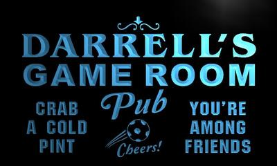 x0165-tm Darrell's Game Room Soccer Pub Custom Personalized Name Neon Sign Wholesale Dropshipping On/Off Switch 7 Colors DHL(China (Mainland))