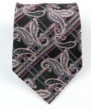 NT0387 Black Pink Paisley Man s New Fashion Jacquard Woven Silk Polyester Tie Classic Business Party