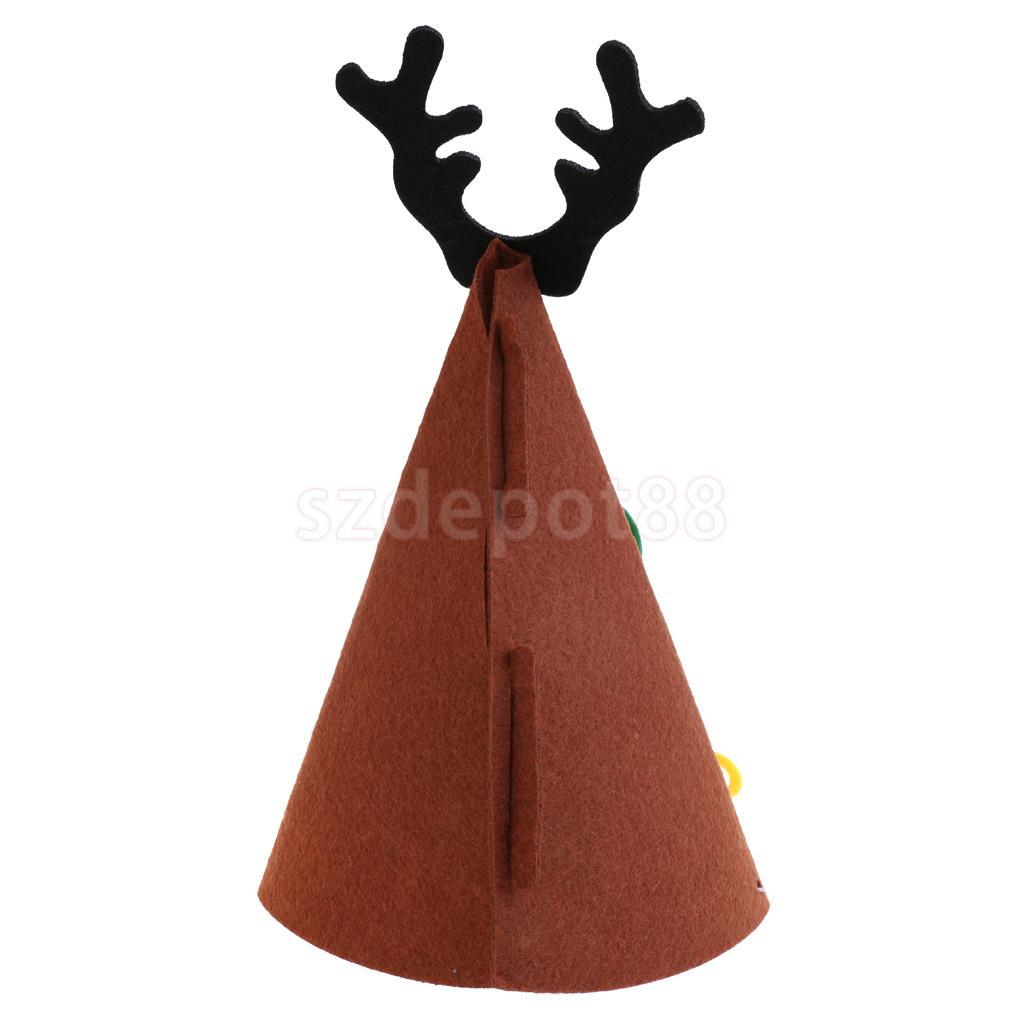 Merry Christmas DIY Felt Fabric Cone Hat Reindeer Horn Star Bow Cap Kids Birthday Fancy Dress Costume Prop