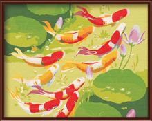 New Wall Art Frameless Pictures Painting By Numbers Handwork Canvas Oil Painting Home Decor Traditional Chinese Fish G051(China (Mainland))