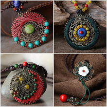 Bohemian Ethnic Jewelry National Wind Necklace Vintage Handmade Weave Charms Agate Ceramic Turquoise Pendant Necklace Women(China (Mainland))