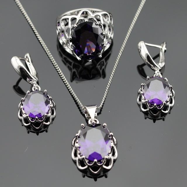 Женский ювелирный набор (кулон, серьги, кольцо) из стерлингового серебра 925 пробы ...