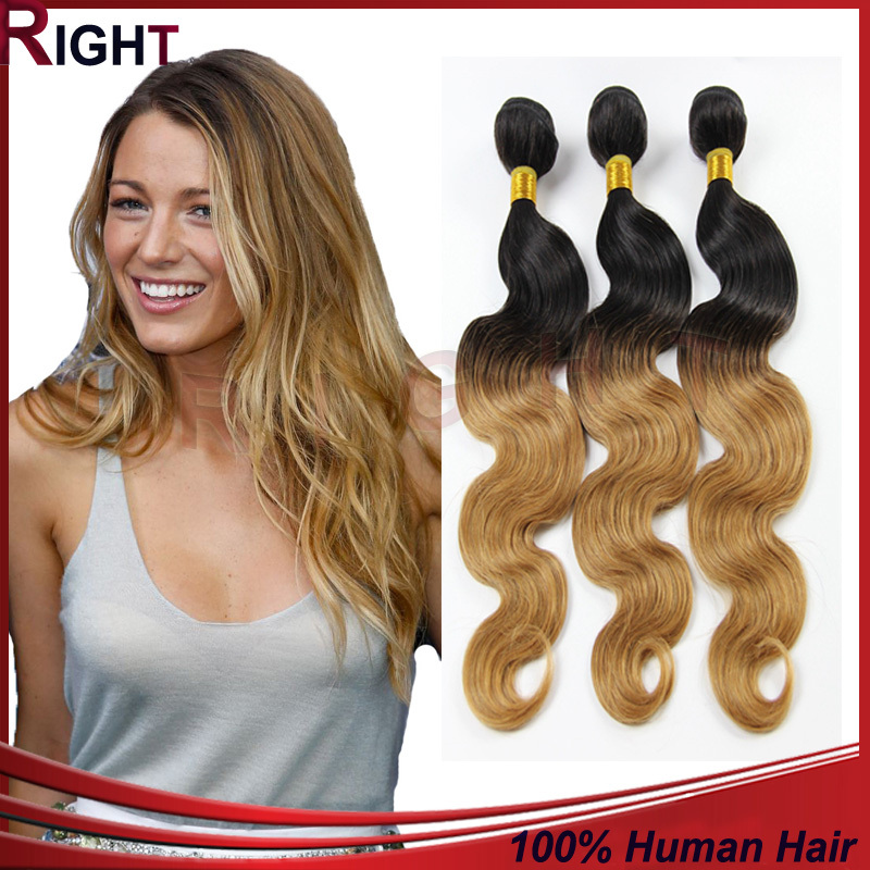 3PCS Two Toned Remy Hair Wavy Highlight Hair Tissage 7A Peruvian Body Wave Hair Blonde Ombre Human Hair Weave Extensions 03B324