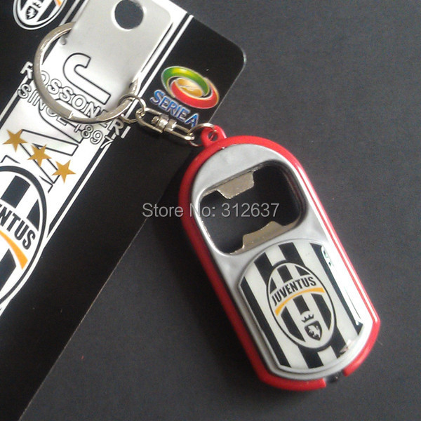Wholesale 20 teams can choose juventus real madrid Zinc Alloy metal Bottle Opener Pendant soccer ball(China (Mainland))