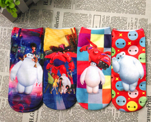 1Pairs lot 2015 Children Girls Kids Socks Summer Cotton Big Hero 6 Baymax Boys Socks Cartoon