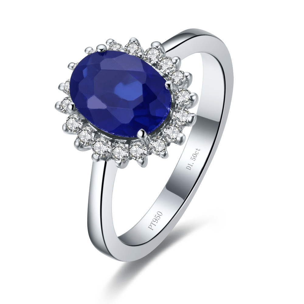 Genuine 18K 1.5CT White Gold Simulate Sapphire Engagement Ring Synthetic Gemstone Natural Jewelry 18K Gold Women AU750 Stamped(China (Mainland))