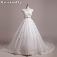 Buy Wedding Dresses Real Photo Custom Make High V Neck Cap Sleeve Lace Appliqued Beaded for $235.00 in AliExpress store