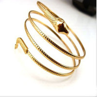 [min.10$]Free Shipping 2015 Bangles Fashion Jewelry Metal Alloy Gold Filled Cute Little Snake Bangle Bracelets.S94
