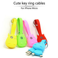 USB Cables For iPhone 5 6 6S Plus Samsung S6 S7 Edge HTC Key Ring Data Line Fast Charging Mobile Phone Charger Cable CinkeyPro