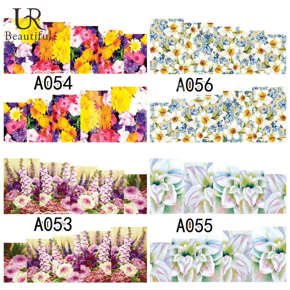 New Fashion 1Sheet Water Transfer Simple Nail Art Stickers Colorful Flowers Designs Nail Art Decorations Free Shipping A053-056(China (Mainland))