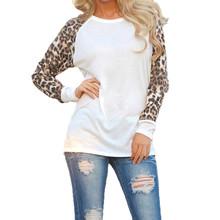 New Fashion Women T-shirt Long Sleeve Leopard White Loose Women Tops Casual T-shirt  Women Clothing