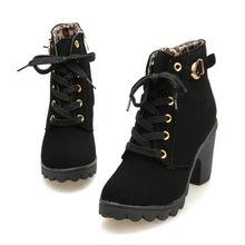 Schuh Heels Schwarz Hohe Pantoffel Frauen Mode Hot Winter Damen Mode High Heel Lace Up Ankle Stiefel Damen Schnalle Plattform schuhe(China)