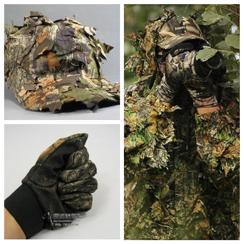NEW ARRIVAL CS 3D Leaf Yowie sniper Ghillie Suit+ Jungle cap +Camouflage glove Hunting clothes Free shipping<br><br>Aliexpress