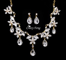 Crazy Feng Free shipping Women's 18k Yellow Gold Plated Austrian Crystal Rhinestone Necklace Earrings Wedding Jewelry Sets Gifts(China (Mainland))