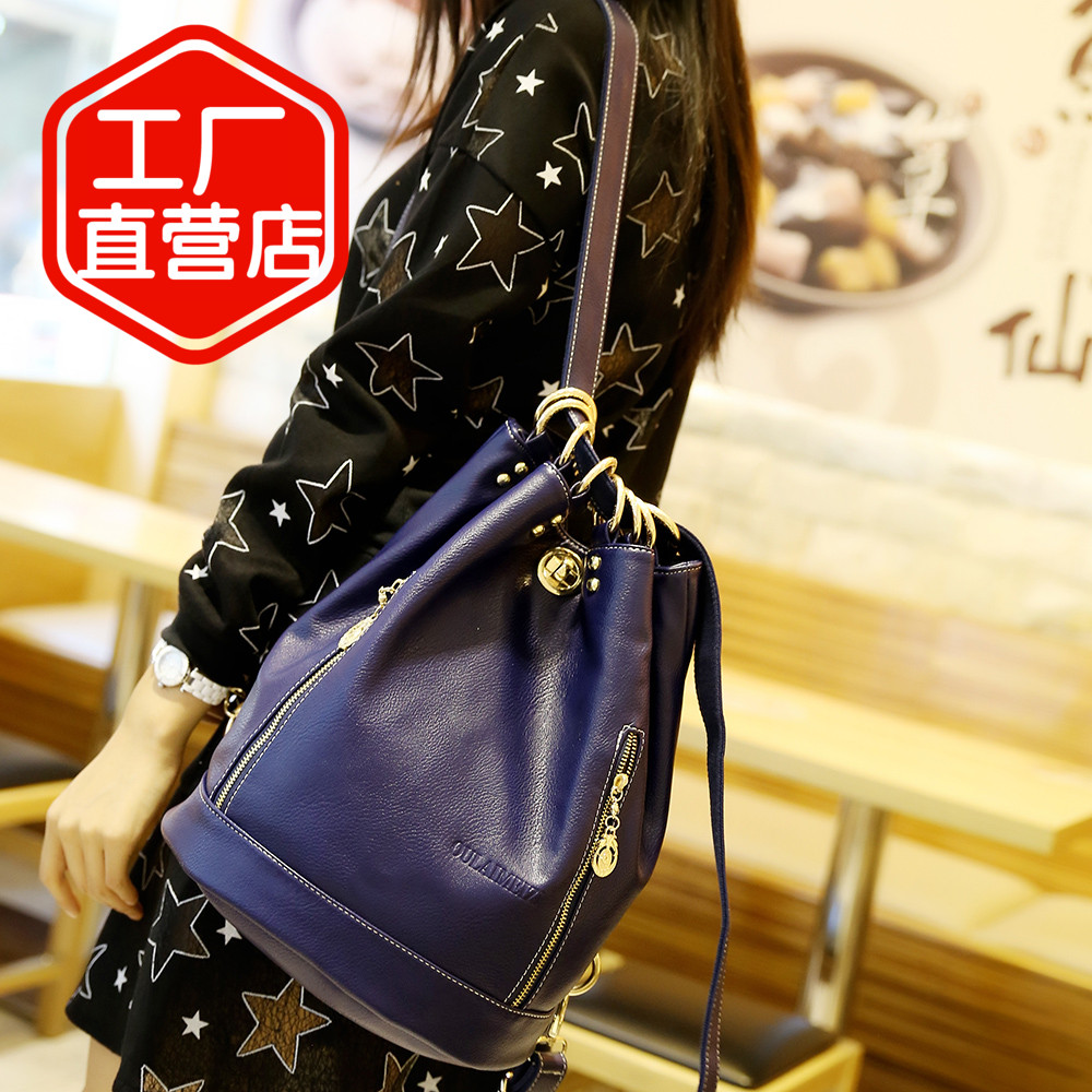 genuine leather women backpack brand bag second layer of cowhide backpack fashion lady bucket bags shoulder bag travel bags D134<br><br>Aliexpress