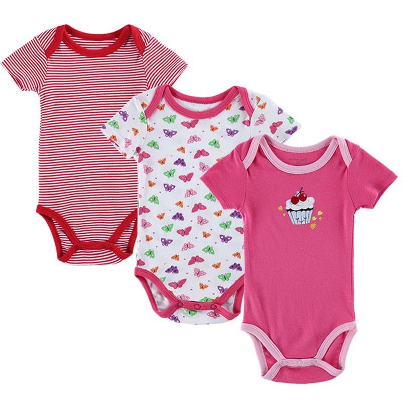 1524610 BABY BODYSUITS 3PCS 100%Cotton Infant Body Bebes Short Sleeve Clothing Similar Jumpsuit Printed Baby Boy Girl Bodysuits