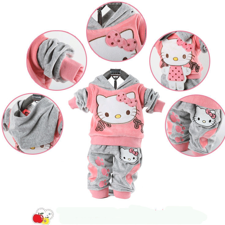 hello kitty Baby Girl Clothes Sets New 2015 Summer Autumn Hoodies Girl Clothing Set Kids Tracksuit 1T-3years(China (Mainland))