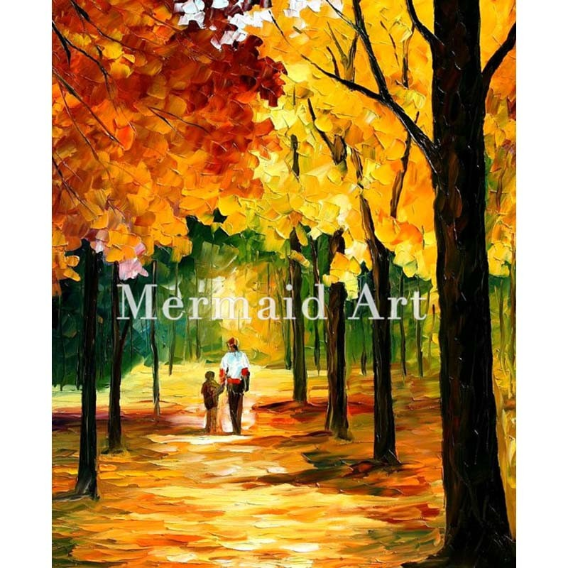 Buy Hand Painted Sunny Bouquet Floral Landscape Abstract Palette Knife Modern Oil Painting Canvas Wall Living Room Artwork Fine Art cheap