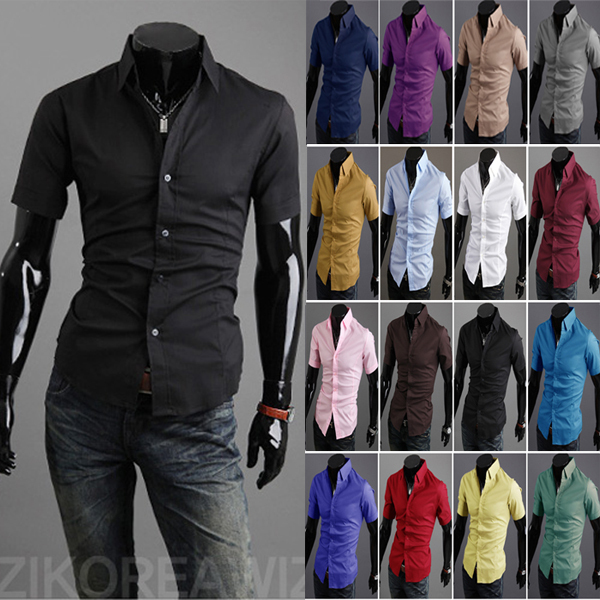 slim fit fashion mens dress shirts social office casual hombre blusas short sleeve plain working wear camisas masculina  -  DT boutique store