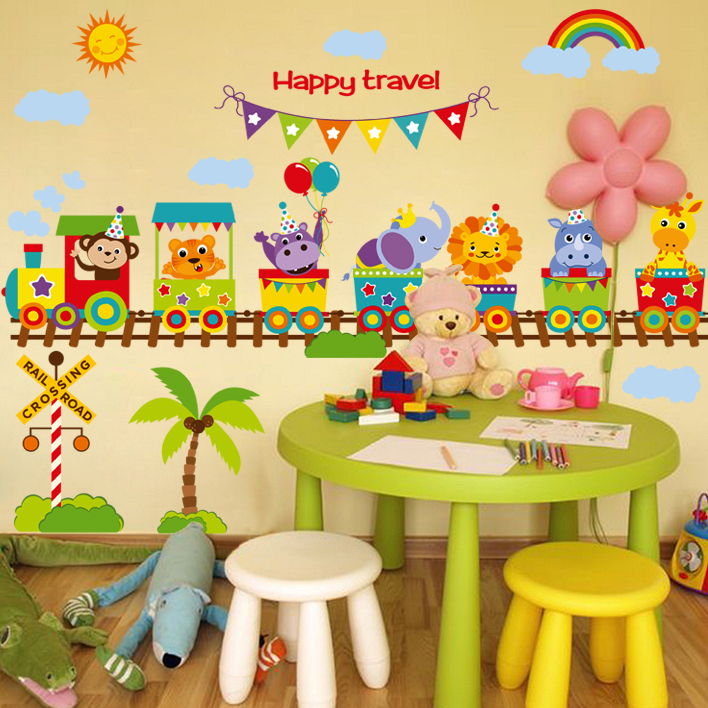 mural wall paper Train Happy Travel sticker on the wall Vinyl wall stickers for kids rooms vinilos adhesivos decorativos pared(China (Mainland))