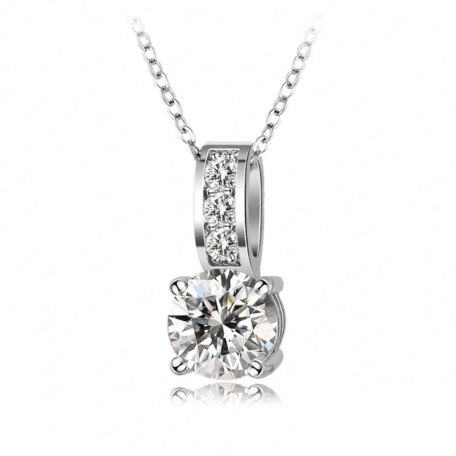 New Arrival Fashion Costume Jewelry Necklace Platinum Plated Round Shape Cubic Zirconia Diamond Pendant Necklace CNL0019