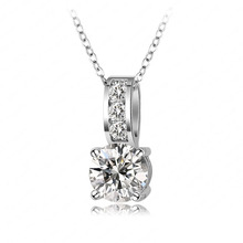 Chunky Fashion Costume Jewelry Nacklace Platinum Plated Round Shape Swiss Cubic Zirconia Diamond Pendant Necklace JS-NL0019