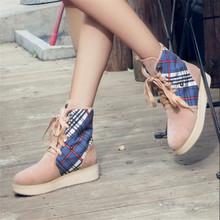 las mujeres los zapatos de gran tamaño otoño e invierno nuevo estilo británico Martin botas botas de nieve calientes mujeres botas planas de algodón cordón zapatos de la señora(China (Mainland))