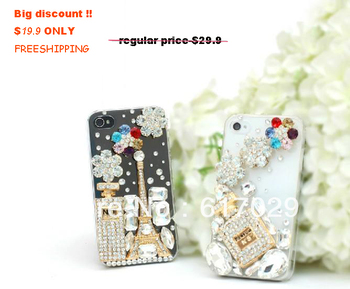 Perfume bottle  & tower crystal bling accessories for iphone 4 cases,3 colors are available,free spare crystal and glue offered