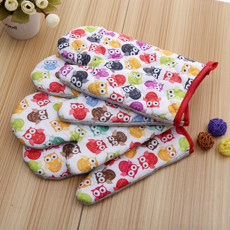 5 Pieces Small Owls Printed Cotton Oven Mitts for Out door BBQ or Kitchen Supplies Oven Glove(China (Mainland))