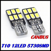 10pcs Error Free T10 Canbus Led w5w T10 158 168 194 5630 5730 12smd SMD LED Car Canbus Replacement Light Lamp Bulbs 12v