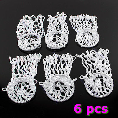 Free Shipping 6pcs Billiards Pool Snooker Table Ringed Nylon Nets Pockets Bags Cue Kit White(China (Mainland))