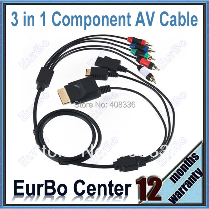 DHL/EMS Free Shipping 10PCS/Lot 3 IN 1 AV Component Cable For PS3 / Wii / Xbox 360 Black (EPS025)<br><br>Aliexpress