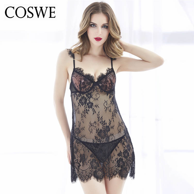 COSWE Women Sexy Lingerie Erotic Lenceria Sexy Chemises Perspective Backless Sling Lace Exotic Dress Sex Babydolls MN7076(China (Mainland))